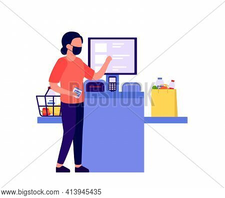 Self Checkout Shop. Woman Paying For Products At Electronic Device. Self-service Cashier On Terminal