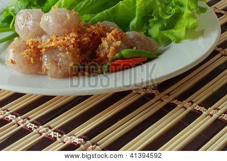 Sago pork snack  Thailand on white plate poster
