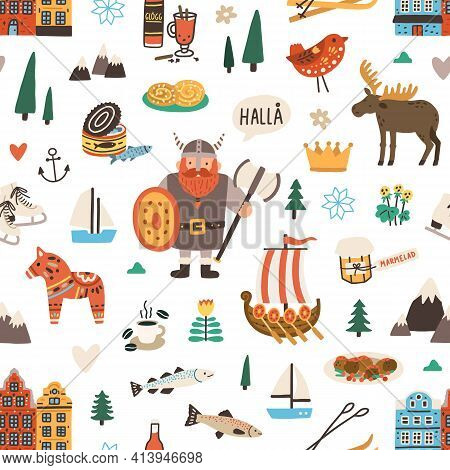 Seamless Swedish Pattern With Symbols Of Sweden And Stockholm On White Background. Endless Design Fo