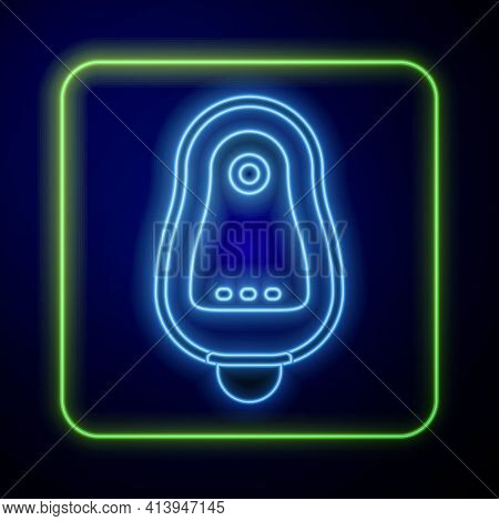 Glowing Neon Toilet Urinal Or Pissoir Icon Isolated On Blue Background. Urinal In Male Toilet. Washr