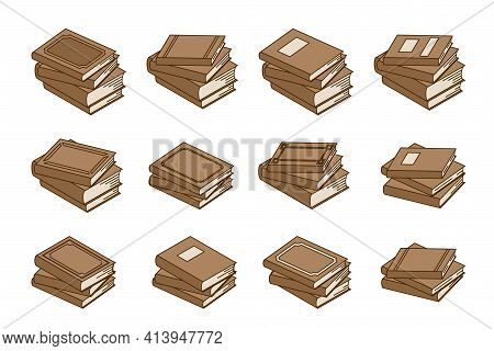 Set Of Books, Textbook, Schoolbook, Training Manual, Encyclopedia Isolated On A White Background. St