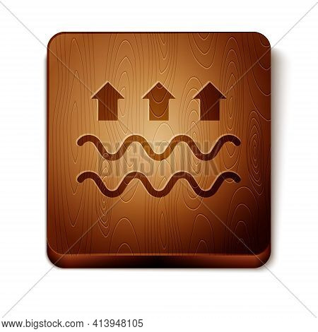 Brown Waves Of Water And Evaporation Icon Isolated On White Background. Wooden Square Button. Vector