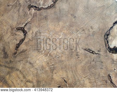 Background Structure Of An Old Sawn Linden Tree. Tree Rings Old Weathered Wood Texture With The Cros