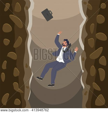 Businessman Falling Over Cliffs Into Abyss, Flat Vector Illustration. Business Failure Bankruptcy Cr