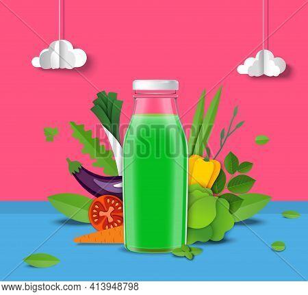 Natural Vegetable Juice Promo Poster Template. Green Juice Glass Bottle, Fresh Tomato Carrot Celery,