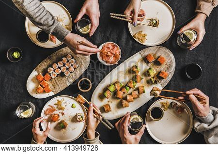 Friends Quarantine Japanese Sushi Dinner From Delivery Service