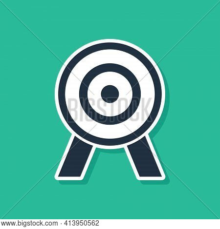 Blue Target Icon Isolated On Green Background. Dart Board Sign. Archery Board Icon. Dartboard Sign.