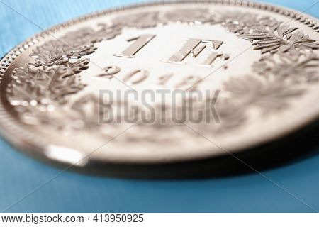 1 Swiss Franc Coin Close-up. Illustration About The Economy, Business, Money And Finance Of Switzerl