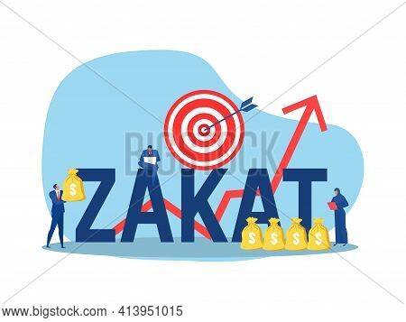Business Holding Money For Pay Zakat With Growth Donation Zakat Target Concept Muslim Islam Count Co