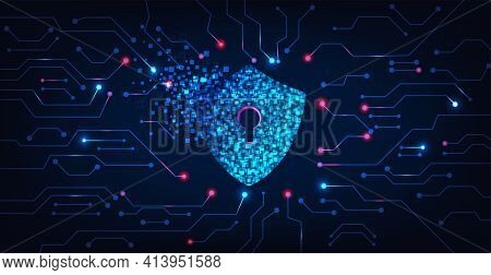 Cyber Security Destroyed.shield Destroyed On Electric Circuits  Network Dark Blue.cyber Attack And I