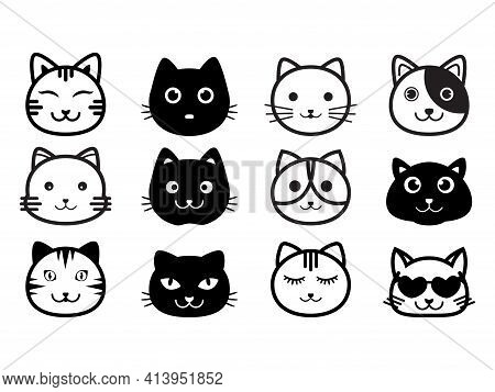 Cat Head Icon. Cat Icon Black On White Background. Cat Icon Simple And Modern For App, Illustration.