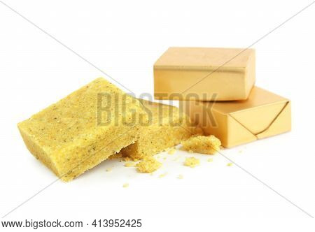 Bouillon Cubes On White Background. Broth Concentrate