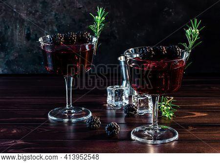 Blackberry Bramble With Fresh Muddled Blackberries, Gin, Lemon Juice, And Soda Water. Refreshing Sum