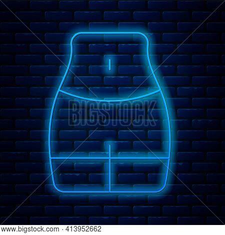 Glowing Neon Line Women Waist Icon Isolated On Brick Wall Background. Vector