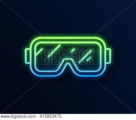 Glowing Neon Line Diving Mask Icon Isolated On Blue Background. Extreme Sport. Diving Underwater Equ