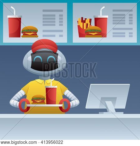 Cartoon Illustration Of Robot Working At Fast Food Restaurant. Concept Ual Illustration For Automati
