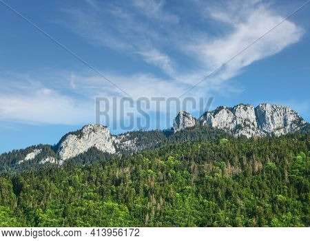 Mont Blanc Rocky Range Peaks Over Green Woodland Mountains, Sunny Day, Beautiful Low Angle View From