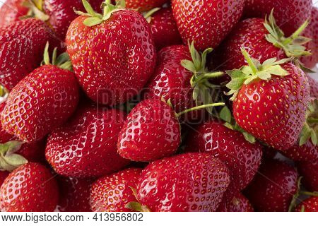 Background Of Fresh Strawberries. Ripe Strawberries. Ripe Berries Close-up. Various Fresh Summer Ber