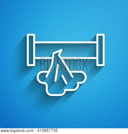 White Line Broken Metal Pipe With Leaking Water Icon Isolated On Blue Background. Long Shadow. Vecto