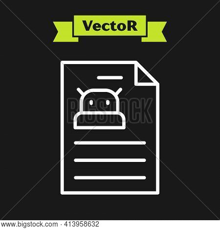 White Line Technical Specification Icon Isolated On Black Background. Technical Support Check List,
