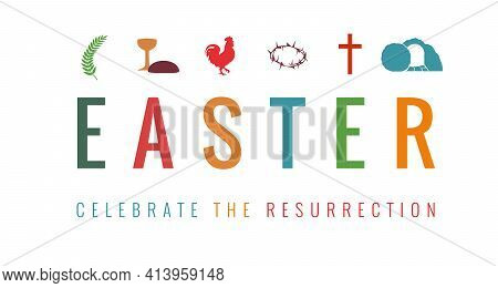 Easter Card With Christian Symbols And Text - Celebrate Resurrection. Easter Sunday, Holy Week Banne