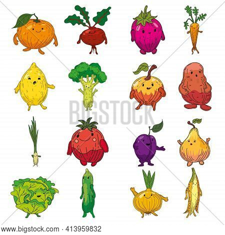 Vegetables Set Hand Drawn Scetch Characters Cartoon. Collection Orange, Beet Root, Strawberry, Carro