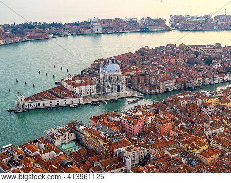 Aerial view of the Grand Canal, Basilica Santa Maria della Salute and giudecca island, Venice, Italy