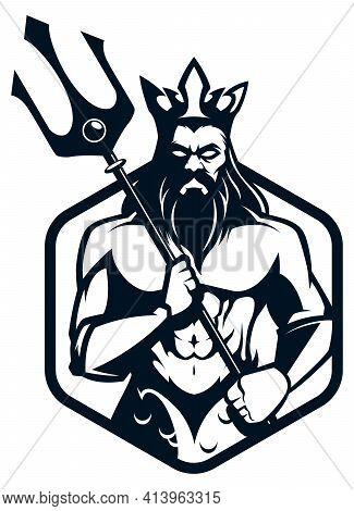 Mascot Or Logo Illustration Of The Sea God Poseidon.