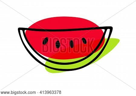 Watermelon Hand Drawn Sketch Isolated. Bright Red, Green Exotic Fruit. Organic Food Outline Vector I