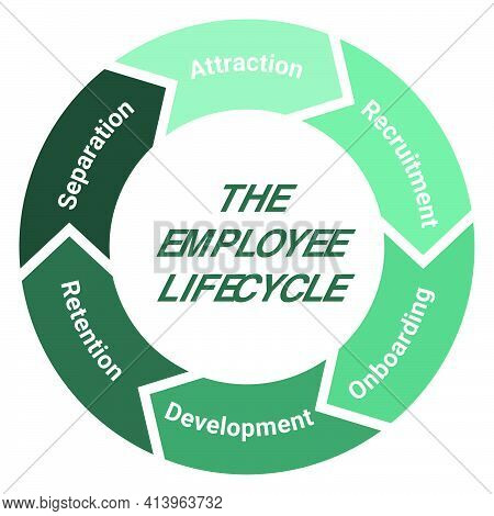 The Employee Lifecycle Management Scheme. Methodology Circle Diagram With Attraction, Recruitment, O
