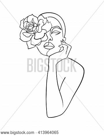 Abstract Face With Flower Rose By One Line Drawing. Beauty Salon Logo. Nature Symbol Of Cosmetics. -