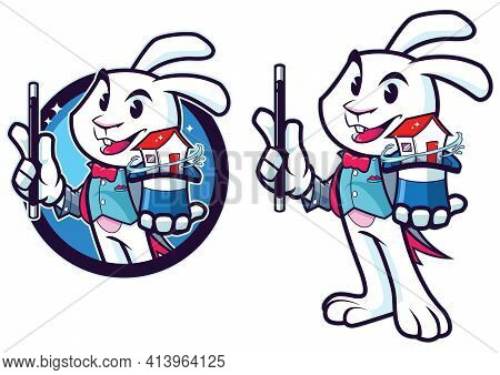 Mascot With Cartoon Rabbit Magician Pulling House Out Of His Hat.