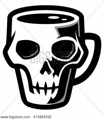 Mascot Or Logo With Mug In The Shape Of Human Or Ape Skull.