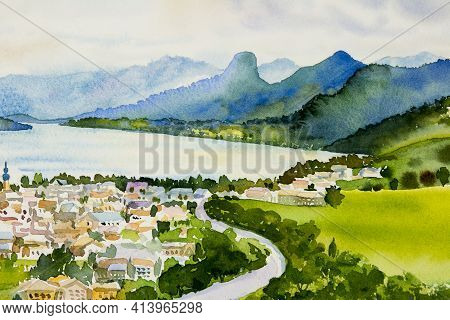 Village, Lake Wolfgansee In Sunrise, Famous Landmark Of Austria. Watercolor Painting Landscape Color