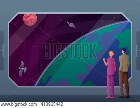 Conceptual Illustration For Space Tourism, With Spaceship Passengers Looking At Planet Earth.