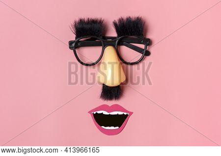 Funny Face - Fake Eyeglasses, Nose And Mustache, Confetti, Sequins On Pink Background Happy Fools Da