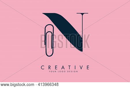 N Letter Logo Design From Paper Clip And Water Drop Shape. Business And Education Logo Concept. Crea