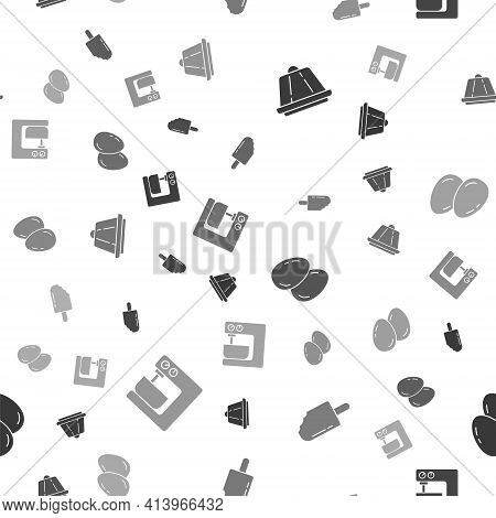 Set Pudding Custard, Ice Cream, Easter Eggs And Electric Mixer On Seamless Pattern. Vector
