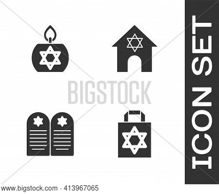 Set Shopping Bag With Star Of David, Burning Candle, Tombstone And Jewish Synagogue Icon. Vector