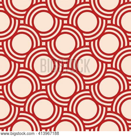 Abstract Seamless Pattern. Concentric Circles. Intersecting Repeating Circles Background. Overlaping