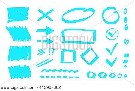 Marker Highlighter Mark, Stripe Background, Checkmark, Oval, Rectangls, Dot, Line, Arrow. Clip Art,