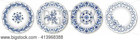 Porcelain Plates, Blue And White Oriental Ornament. Abstract Floral Pattern With Traditional Decorat