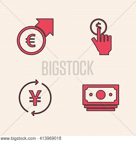 Set Stacks Paper Money Cash, Financial Growth And Euro, Hand Holding Coin And Coin With Yen Icon. Ve