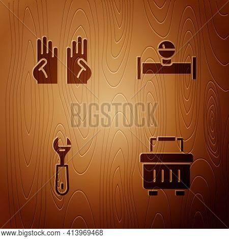 Set Toolbox, Rubber Gloves, Wrench Spanner And Industry Pipe And Manometer On Wooden Background. Vec