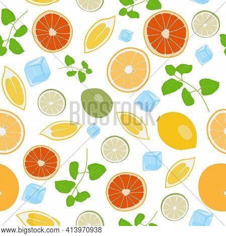 Colorful Seamless Pattern With Lemons, Ice-cubes, Mint Leaves, Oranges And Grapefruits. Vector