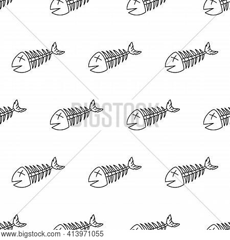 Dead Fish Line Seamless Pattern. Cool Picture In Blue And Black Outline To Indicate Debris Or Enviro
