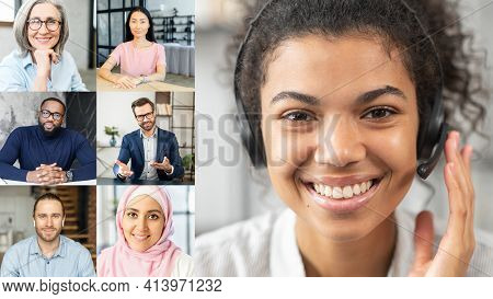 Group Video Calling Concept Of Diverse Colleagues. A Biracial Female Wearing Headset Holding Video C