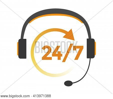 24/7 Service Icon. Support Sign. Headphones Icon Vector Illustration Eps10.  Isolated Badge 24/7 Sup