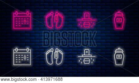 Set Line Dead Body, Grave With Coffin, Calendar Death And Funeral Urn. Glowing Neon Icon On Brick Wa