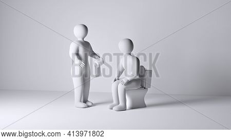 One Person Helping His Friend By Bringing Toilet Paper. Sitting Person On Toilet Bowl Need New Roll